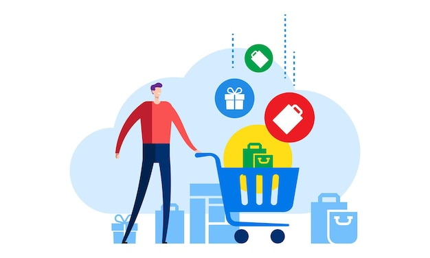 Online shop store concept shopping cart with bags vector illustration