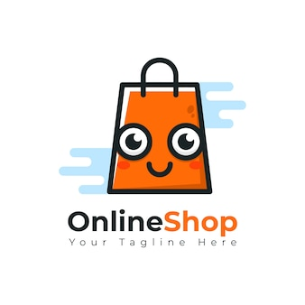 Online shop store e-commerce sale msacot cute logo
