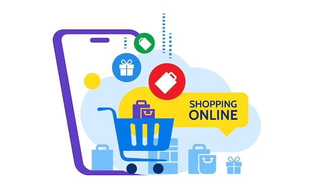 Online shop store  shopping cart with bags standing upon big mobile phone flat vector illustration