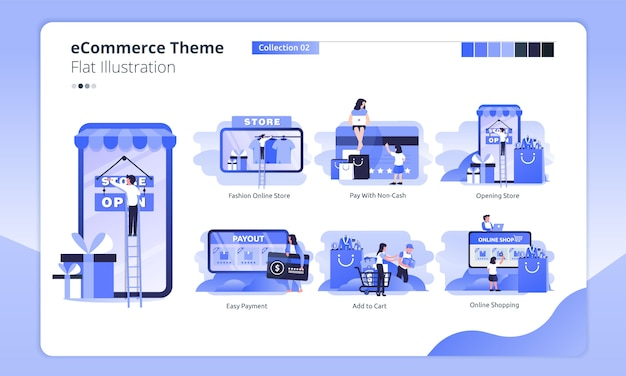 Online shop theme in a flat illustration