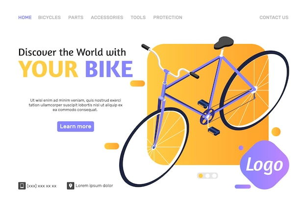 Online shop web page template with isometric bike
