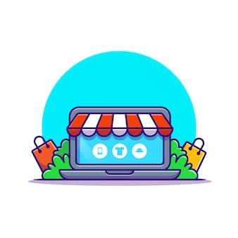 オンラインショップのウェブサイトの漫画のアイコンのイラスト。分離されたビジネス技術アイコンの概念。フラット漫画スタイル