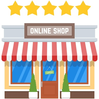 Online shop with five star client experience vector icon