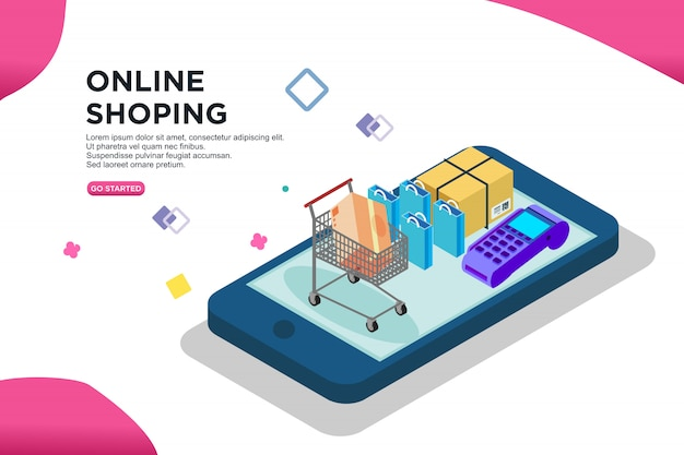 Online shoping isometric design, vector