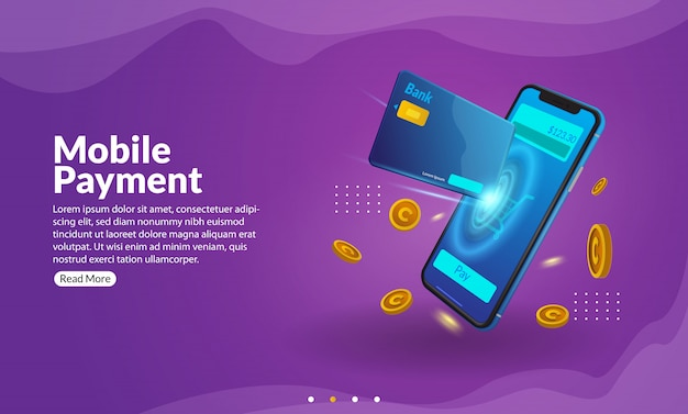 Online shoping with mobile app illustration for web and aplication banner