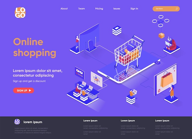 Online shopping 3d isometric landing page website   illustration with people characters