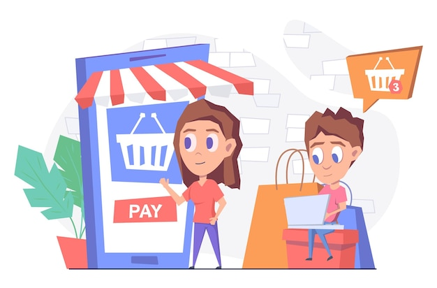 オンラインショッピング女性がスマートフォンからオンラインで商品を購入するノートパソコンを持った男性が箱に座っている