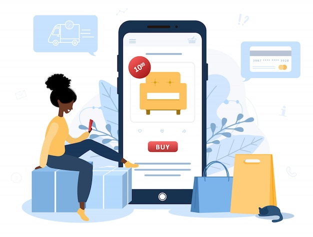 Online shopping. african woman shop at an online store sitting on floor. the product catalog on the web browser page. shopping boxes. stay at home background. quarantine or self-isolation. flat style.