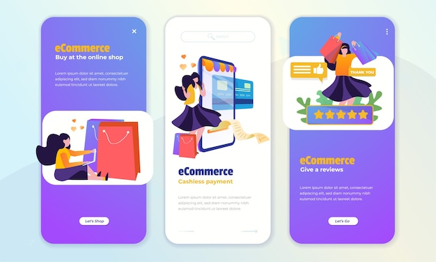 온보드 화면 개념에 대한 온라인 쇼핑 및 고객 피드백 프리미엄 벡터