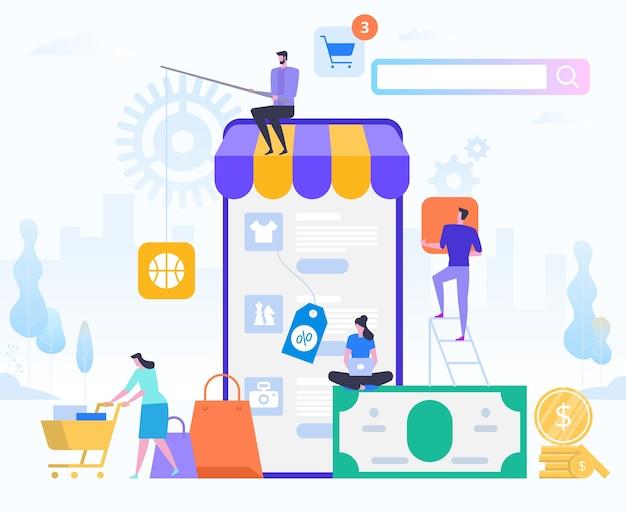 온라인 쇼핑 및 구매 배송. 전자 상거래 판매, 디지털 마케팅. 판매 및 소비 개념. 온라인 샵 신청. 디지털 기술 및 쇼핑 핀. 스타일 그림.
