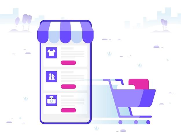 オンラインショッピングと購入品の配送。 eコマースセールス、デジタルマーケティング。