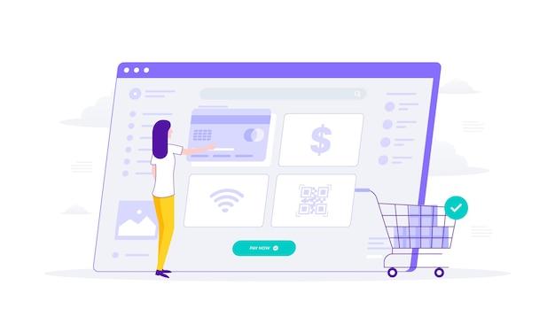 웹 사이트를 통한 온라인 쇼핑 및 결제 방법. 여자는 지불 방법 신용 카드를 선택합니다. 평면 그림