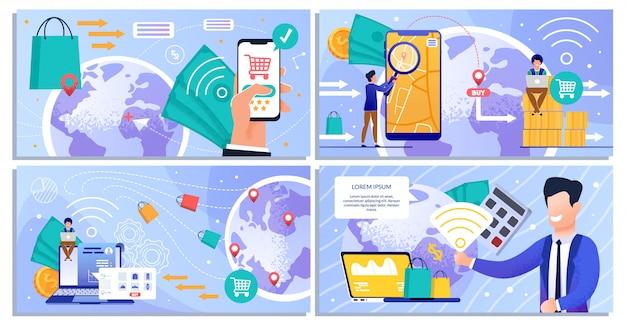 온라인 쇼핑 및 무선 결제 서비스 세트