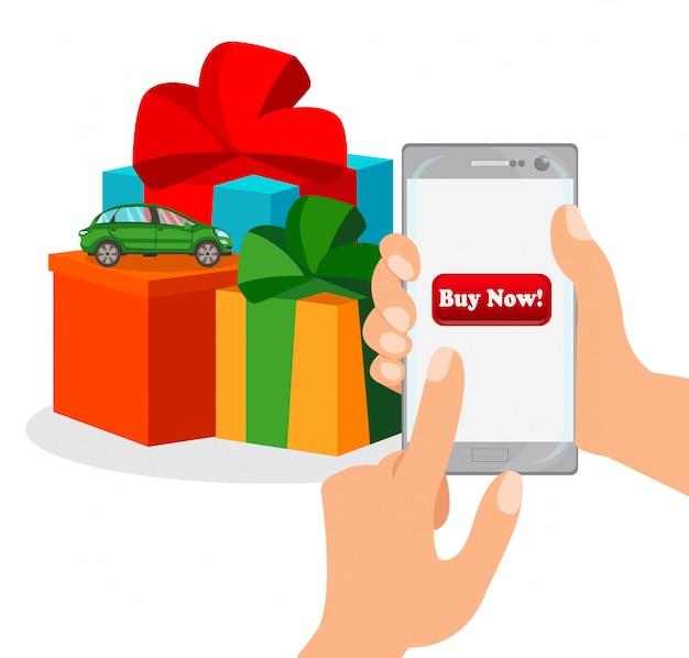 Online shopping app flat color illustration