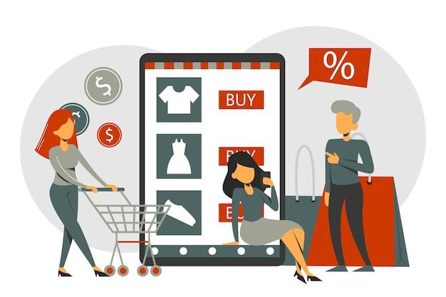 携帯電話のオンラインショッピングアプリ、eコマース。人々は店のページで商品を購入します。カートが分離されたキャラクター。スマートフォン技術。
