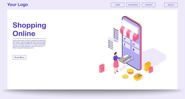 Online shopping app webpage  template with isometric illustration