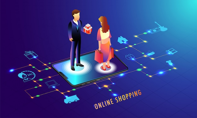 Online shopping application in smartphone.