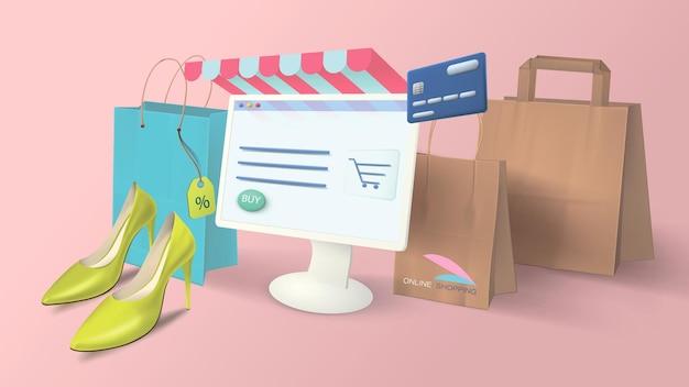 집에서 컴퓨터로 온라인 쇼핑. 현실적인 쇼핑 항목, 종이 가방, 데님 신발, 모니터 배너