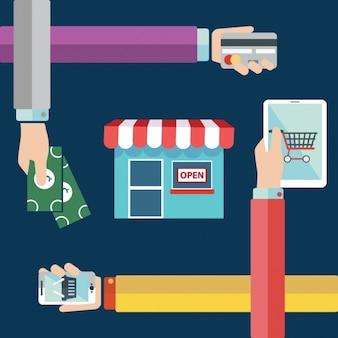 Online shopping background design