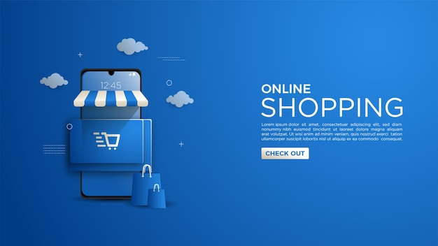 Фон для интернет-покупок для веб-сайта или мобильного приложения