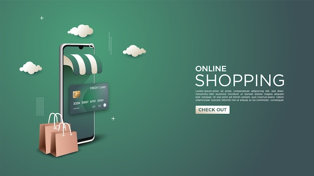 Online shopping background illustrated with credit card and 3d mobile phone