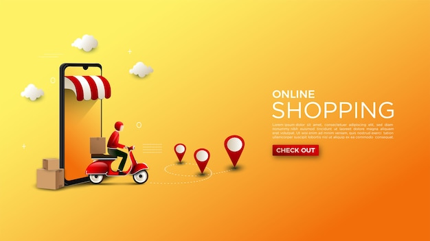 Online shopping background illustration of delivery of goods on a motorcycle