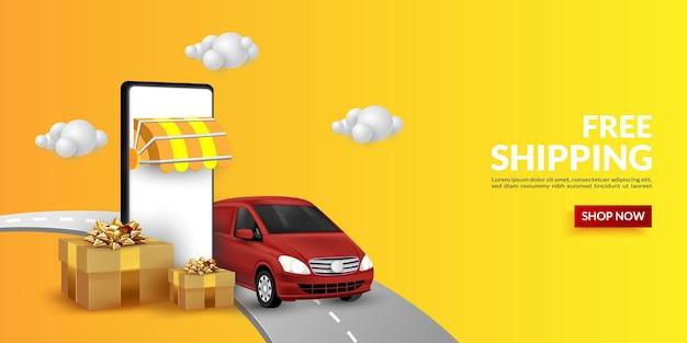 Фон для интернет-покупок с иллюстрацией доставки товаров с использованием фургона для цифрового маркетинга на веб-сайте, в баннере и в мобильном приложении.