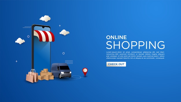Online shopping background with the concept of online delivery