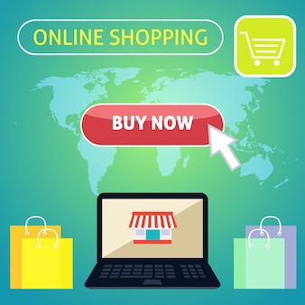 Online shopping background with flat elements