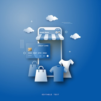Online shopping background, with an illustration of shopping for clothes.
