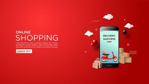 成功した配達のイラストとオンラインショッピングの背景
