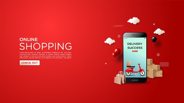 Online shopping background with illustrations of successful deliveries