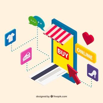 Sfondo di shopping online con icone isometriche