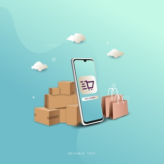 明るい青色の背景にスマートフォンとアイテムボックスを使用したオンラインショッピングの背景。