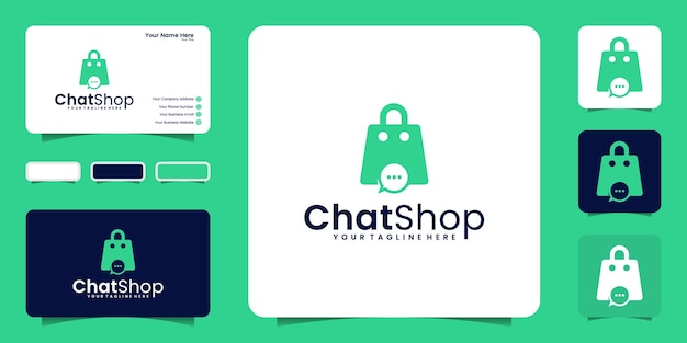 Online shopping bag design logo inspiration and design chat, symbol icon and business card