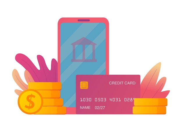 オンラインショッピング銀行金融サービススマートフォンと1ドル硬貨のクレジットカードスタック