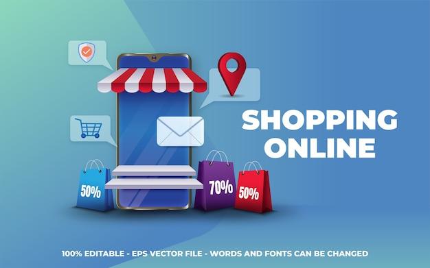 Online shopping banner illustration