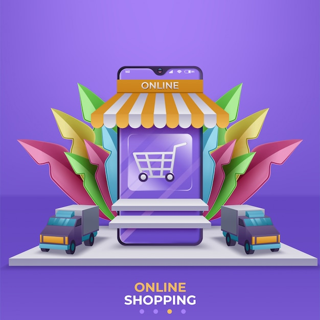 Интернет-магазин баннеров, шаблоны мобильных приложений. иллюстрация