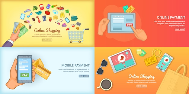 Online shopping banner set