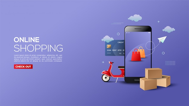 Online shopping banner of smartphones, credit cards and  motorbikes.