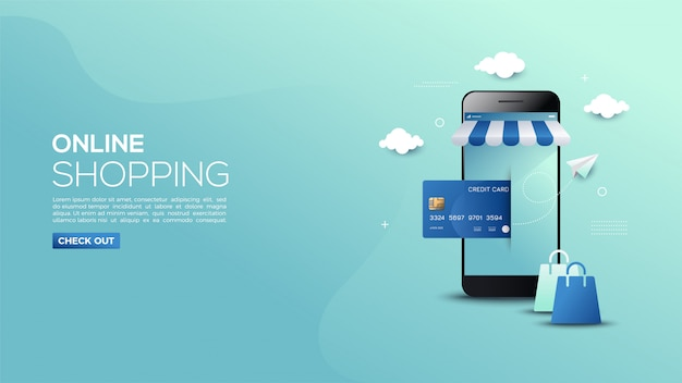 Online shopping banner of smartphones and credit cards.