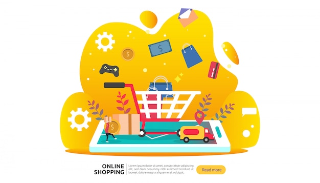 Online shopping banner template. business concept for sale e-commerce.