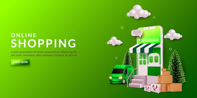 Online shopping banner template, with mobile phone, box, car and shopping bags