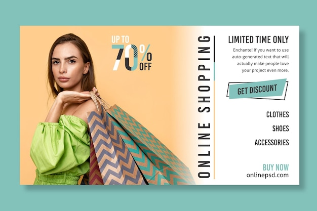 Online shopping banner template with photo