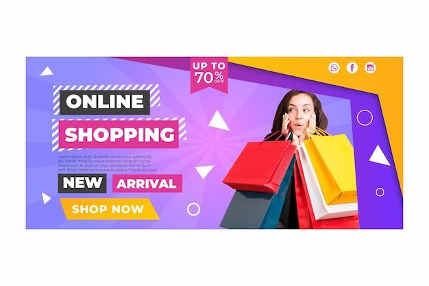 Modello di banner dello shopping online
