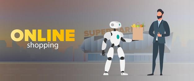 Интернет-магазин баннер. робот держит сумку с продуктами. доставка еды роботами. бизнесмен показывает большой палец вверх. концепция будущей доставки. вектор.