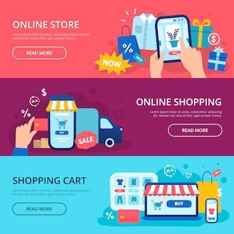 온라인 쇼핑 배너. 웹 상점 신용 카드, 인터넷 쇼핑 카트 및 구매 배달 배너 설정