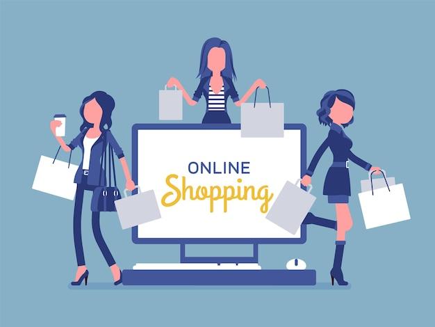 幸せな女性とのオンラインショッピングバナー。インターネットを介して商品やサービスを購入することを宣伝する女性は、消費者にとって快適な電子商取引を楽しんでいます。ベクトルイラスト、顔のない文字