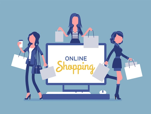 Online shopping banner with happy women. ladies advertising buying goods or services over the internet, enjoy comfortable electronic commerce for consumers. vector illustration, faceless characters