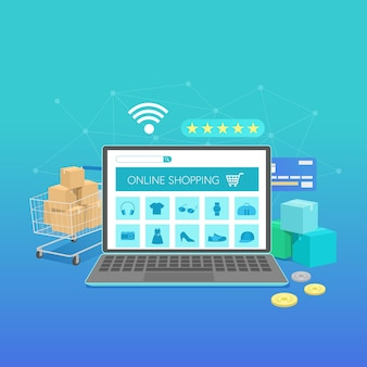 Online shopping banner with laptop, concept flat design